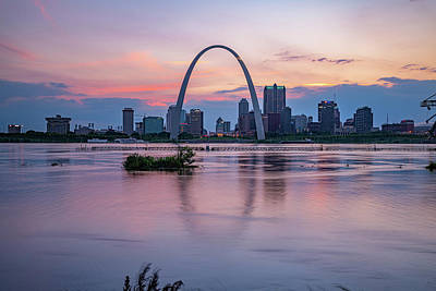Royalty-Free and Rights-Managed Images - Saint Louis Skyline Sunset Over Mississippi River by Gregory Ballos