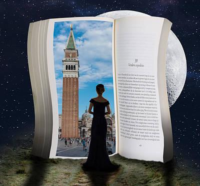 Surrealism Digital Art - Saint Mark Campanile Venice Italy and Woman Surreal by Barroa Artworks