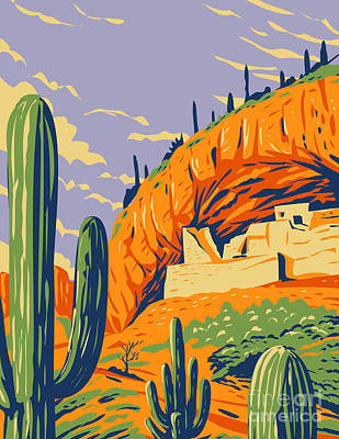 Halloween Movies - Salado-Style Cliff Dwelling and Saguaro Cactus in Tonto National Monument in Superstition Mountains Located in Gila County Arizona WPA Poster Art by Aloysius Patrimonio