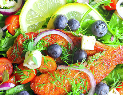 Royalty-Free and Rights-Managed Images - Salmon Blueberries Feta Onion And Herbs by Johanna Hurmerinta