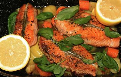 Anne Geddes Collection - Salmon Vegetables Basil And Lemon by Johanna Hurmerinta