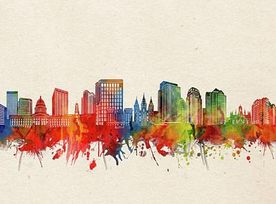 Rolling Stone Magazine Covers - Salt Lake Sity Skyline Watercolor 2 by Bekim M