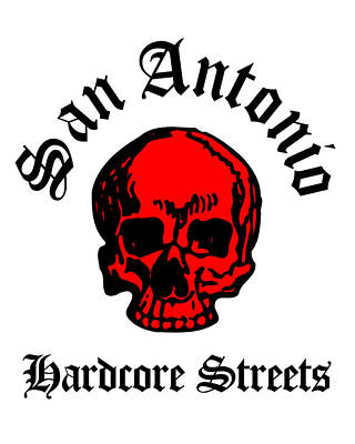 Curated Beach Towels - San Antonio Texas Hardcore Streets Urban Streetwear Red Skull, Super Sharp PNG by Kathy Anselmo