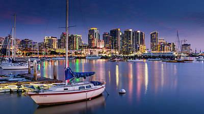 Photograph - San Diego Harbor and Skyline 02 by John Morris