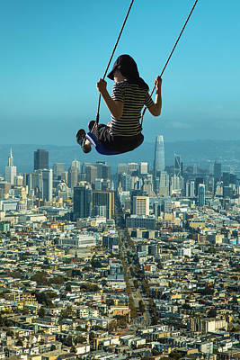 Surrealism Digital Art - Aerial View of San Francisco Bay Area and Girl On A Swing Surreal by Barroa Artworks