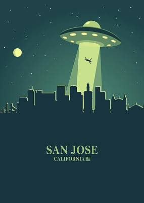 Mannequin Dresses Rights Managed Images - San Jose City Skyline Ufo Night Royalty-Free Image by Ahmad Nusyirwan