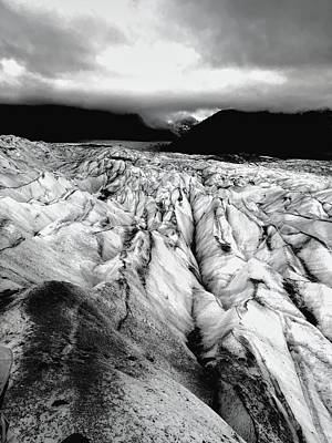 Surrealism Royalty-Free and Rights-Managed Images - San Rafael Glacier Black and White by Heidi Fickinger