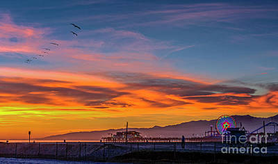 Farm House Style - Santa Monica Pier Sunset 3 by David Zanzinger
