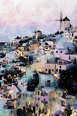 Painting - Santorini at Dusk by Dreamframer Art