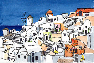 Painting Rights Managed Images - Santorini, Greece Rooftops Royalty-Free Image by Margaret Bucklew