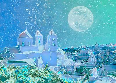 Beaches And Waves Rights Managed Images - Santorini Nights Royalty-Free Image by Christina Ford