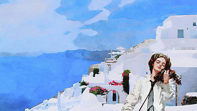 Music Paintings - Santorini Views with Violin Music by Safran Fine Art