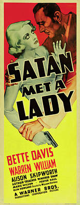 Outdoor Graphic Tees - Satan Met a Lady, with Bette Davis, 1936 by Stars on Art