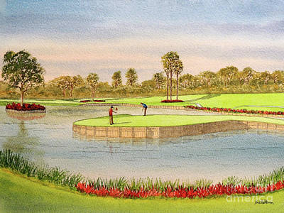 Recently Sold - Sports Royalty-Free and Rights-Managed Images - Sawgrass Golf Course 17th Green Putting Out by Bill Holkham