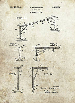 Animals Drawings - Scaffold Horse Patent by Dan Sproul