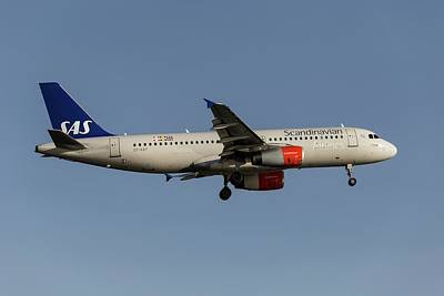 Vintage College Subway Signs Color - Scandinavian Airlines Airbus A320-232            2 by David Pyatt