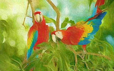 Popstar And Musician Paintings Royalty Free Images - Scarlet Macaws Royalty-Free Image by Maciek Froncisz