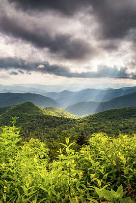 Ethereal - Scenic Mountain Landscape Photography Appalachian Mountains Blue Ridge Parkway NC Summer Sun Rays by Dave Allen