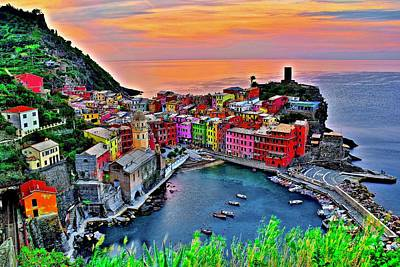 David Bowie Royalty Free Images - Scenic Sunup in Vernazza Royalty-Free Image by Frozen in Time Fine Art Photography