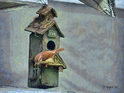 Animals Digital Art - SchoolHouse Wren by Theresa Campbell
