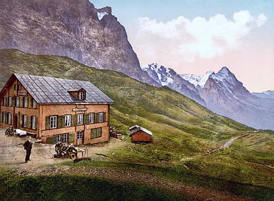 Royalty-Free and Rights-Managed Images - Schynige Platte and Grosse Scheidegg Hotel, Bernese Oberland, Switzerland 1890. by Joe Vella