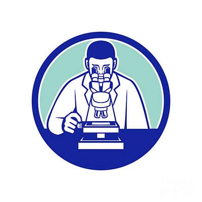 Studio Grafika Vintage Posters - Scientist Looking Through Microscope Mascot by Aloysius Patrimonio