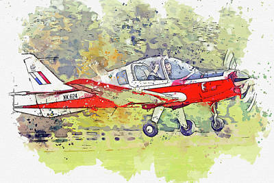Vintage Movie Stars - Scottish Aviation Bulldog T G-KDOG  RAF XX war planes in watercolor ca by Ahmet Asar  by Celestial Images