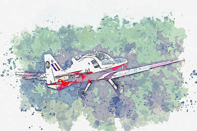 Vintage Movie Stars - Scottish Aviation Bulldog T G-KDOG XXwar planes in watercolor ca by Ahmet Asar by Celestial Images