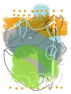 Fruits And Vegetables Still Life - Scribble Abstract Grey Orange Green by Sarah Niebank
