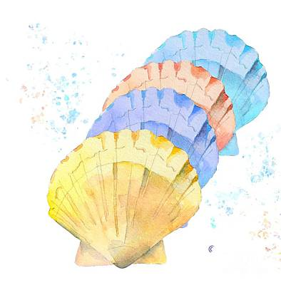Painting - Sea Shell Art in Pastels by Jo Lynch