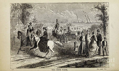 Drawings Royalty Free Images - SEA SIDE PARK i Royalty-Free Image by Historic illustrations