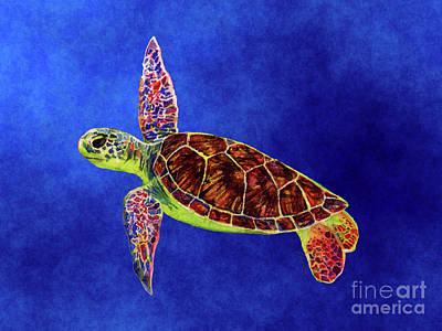 Royalty-Free and Rights-Managed Images - Sea Turtle on Blue by Hailey E Herrera