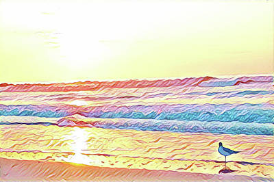 Surrealism Digital Art - Seagull at Sunrise by Surreal Jersey Shore