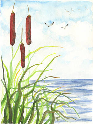 Outerspace Patenets Rights Managed Images - Seagulls and Cattails Royalty-Free Image by Taphath Foose
