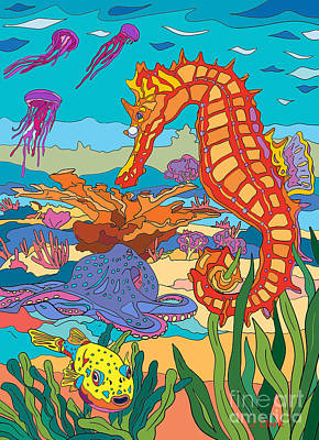 Shark Art - Seahorse and Octopus by John Clark