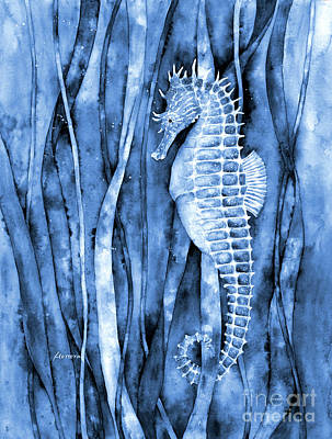 Royalty-Free and Rights-Managed Images - Seahorse in Blue2 by Hailey E Herrera