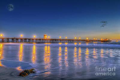 Door Locks And Handles - Seal Beach Pier Full Moon by David Zanzinger