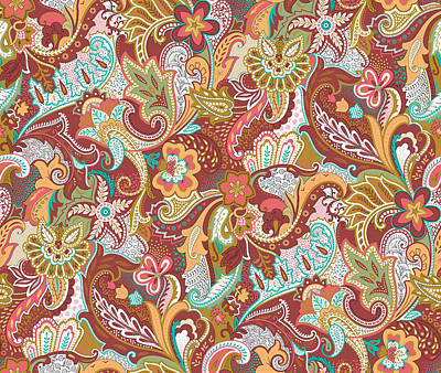 Royalty-Free and Rights-Managed Images - Seamless paisley Pattern on background by Julien
