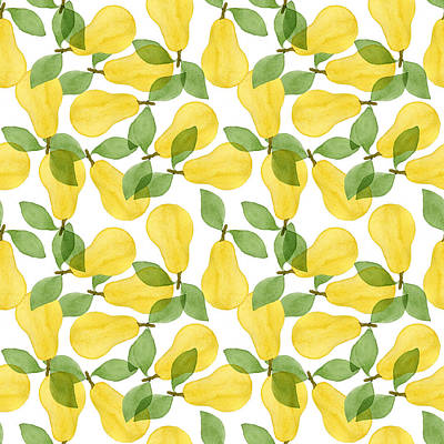 Royalty-Free and Rights-Managed Images - Seamless pattern made of pears with leaves by Julien