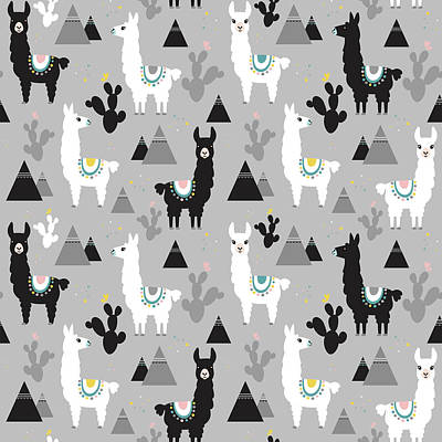 Royalty-Free and Rights-Managed Images - Seamless pattern of llama cactus and mountains by Julien