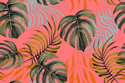Royalty-Free and Rights-Managed Images - Seamless pattern of palm leaves and monsteratropical plant painted in watercolor. Natural Vintage Pattern Background.  by Julien