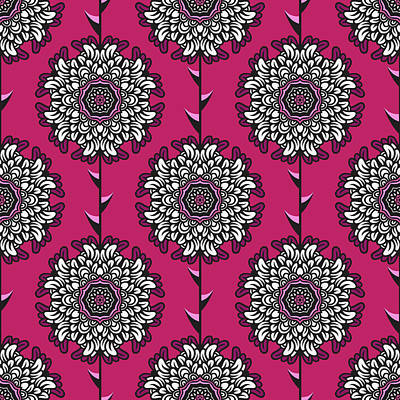 Royalty-Free and Rights-Managed Images - Seamless pattern with beautiful graphic flowers by Julien