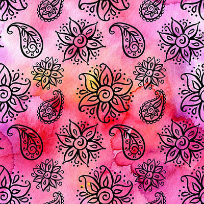 Royalty-Free and Rights-Managed Images - Seamless pattern with floral ornamental ethnic decorative elements by Julien