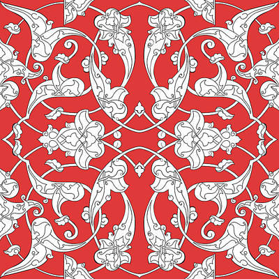 Royalty-Free and Rights-Managed Images - Seamless pattern with traditional turkish style iznik tile ornaments by Julien