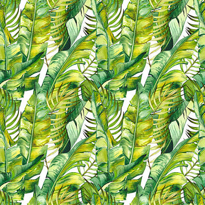 Royalty-Free and Rights-Managed Images - Seamless pattern with tropical banana leaves. Watercolor on white background. by Julien