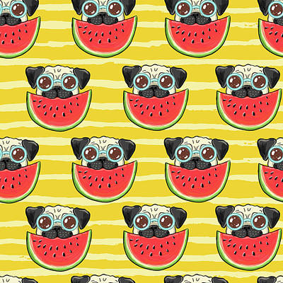 Royalty-Free and Rights-Managed Images - Seamless summer background pattern with funny pug dog in sunglasses eating watermelon by Julien