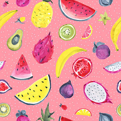 Royalty-Free and Rights-Managed Images - Seamless Tropical pattern of exotic fruit. Hand drawn food design by Julien