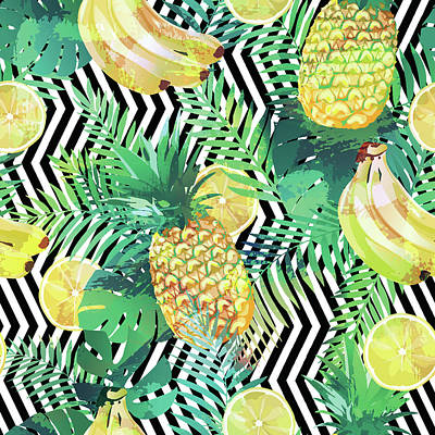 Royalty-Free and Rights-Managed Images - Seamless tropical pattern with bananas lemons palm leaves and pineapples by Julien