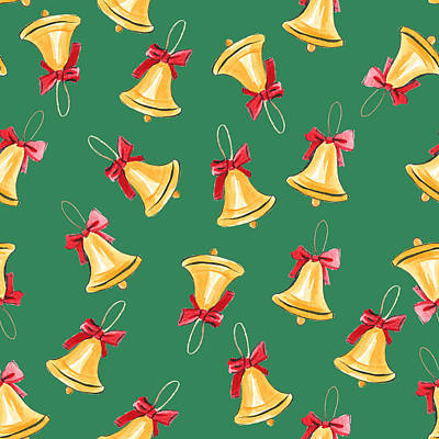 Royalty-Free and Rights-Managed Images - Seamless watercolor pattern with bell  by Julien