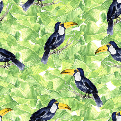 Royalty-Free and Rights-Managed Images - Seamless watercolor pattern with toucan on green leaves by Julien